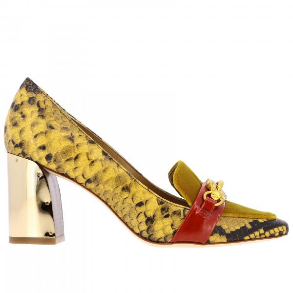 Tory Burch Jessa 天鹅绒和蟒蛇纹真皮浅口高跟鞋