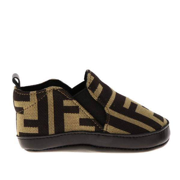 Scarpa slip on Fendi in cotone con monogramma FF all over