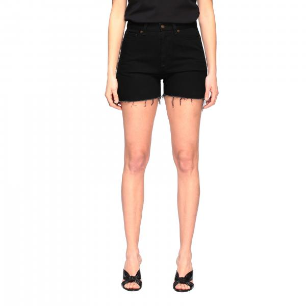 Shorts Saint Laurent con bordi sfrangiati