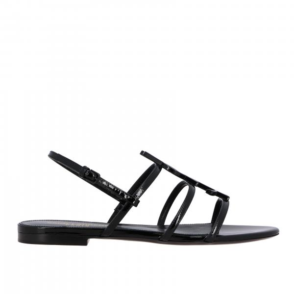 Saint Laurent flat sandal in leather with YSL monogram
