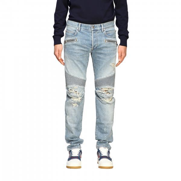 Jeans Balmain in denim used con rotture e zip