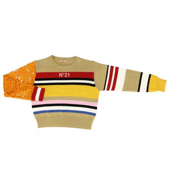 N° 21 macramé袖子条纹毛衣