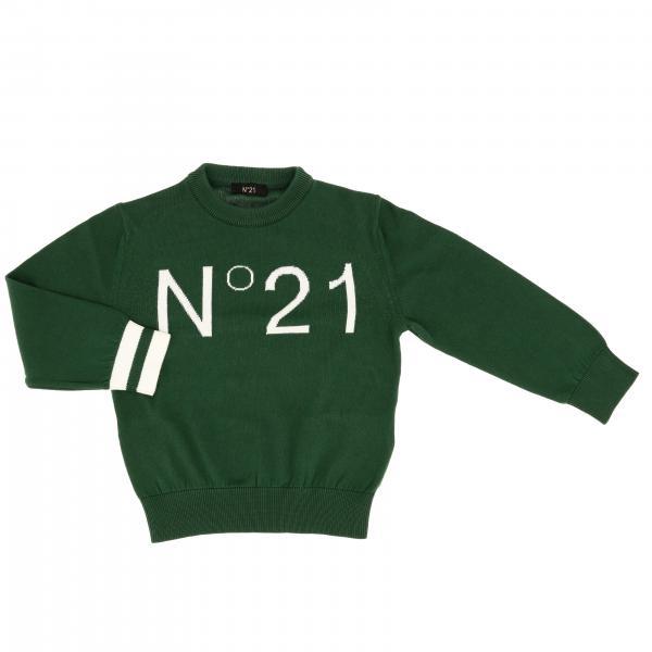N° 21 logo装饰圆领毛衣