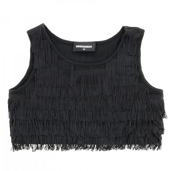 Top Dsquared2 Junior cropped con frange all over