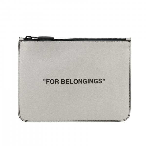 Portafoglio portafoglio off white in pelle laminata con scritta for belongings Off White - Giglio.com