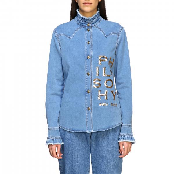Camicia di jeans Philosophy Di Lorenzo Serafini con logo di paillettes