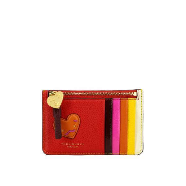 Porta carte di credito Tory Burch in pelle multicolor con patch a forma di cuore