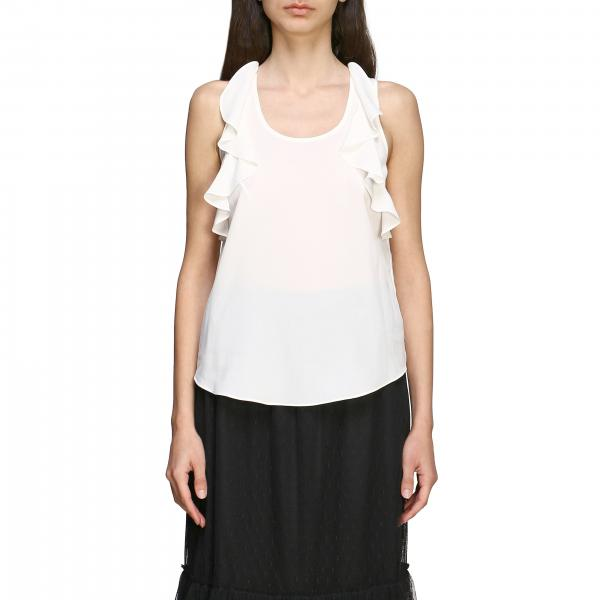 Twin-set sleeveless top with ruffles