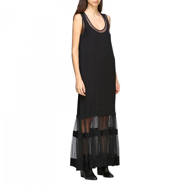 Twin Set 边缘网纱装饰长款连衣裙