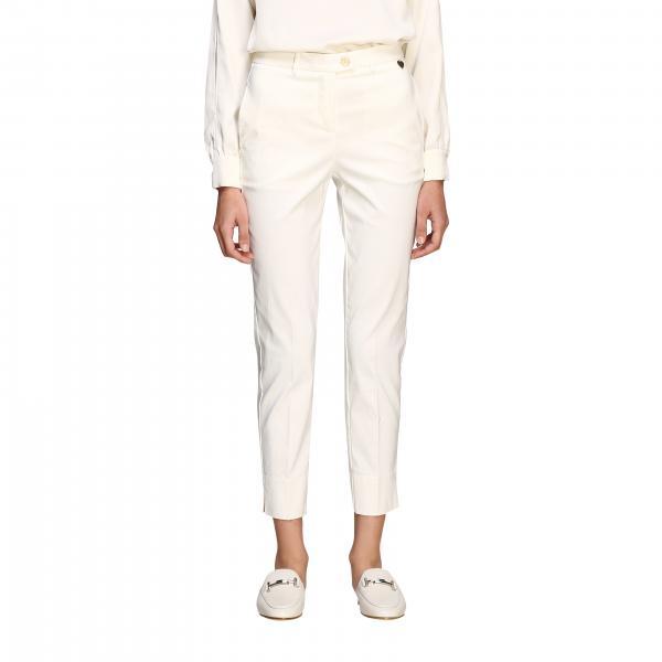 Twin-set slim trousers with metallic logo