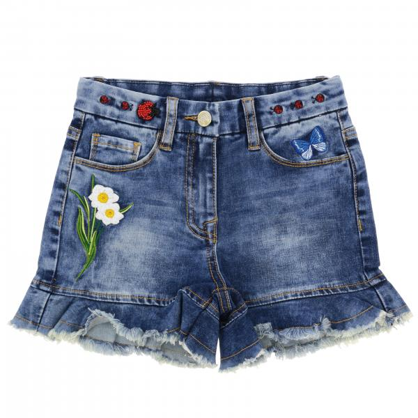 Short Monnalisa en denim usé avec broderies