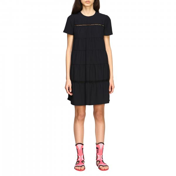 Prada mini dress in poplin with micro embroidered finishes