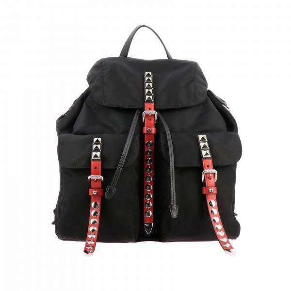 Zaino Prada in nylon e pelle con borchie metalliche e logo