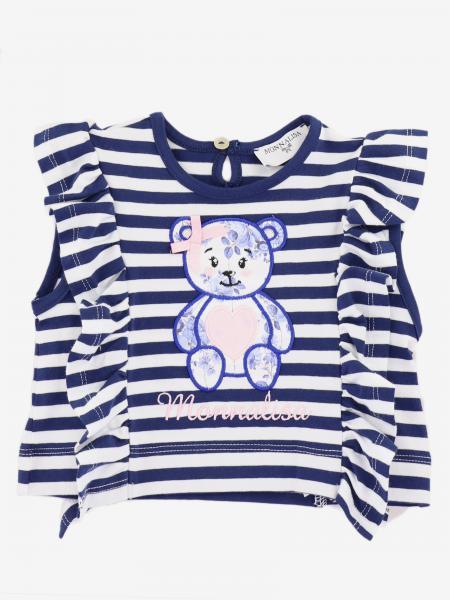 T-shirt Monnalisa Bebé a righe con orso