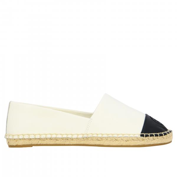 Tory Burch espadrilles in leather with contrasting tip and emblem