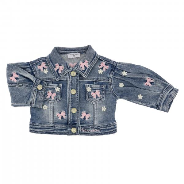 Monnalisa Baby denim jacket with embroidery