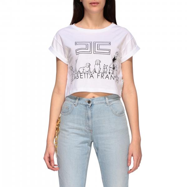 T-shirt Elisabetta Franchi cropped con stampa