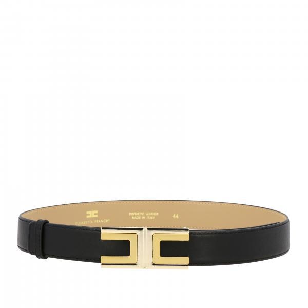 Cintura Elisabetta Franchi in pelle con logo metallico