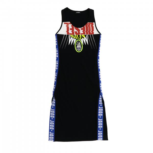 Diesel sleeveless dress with bands and big logo