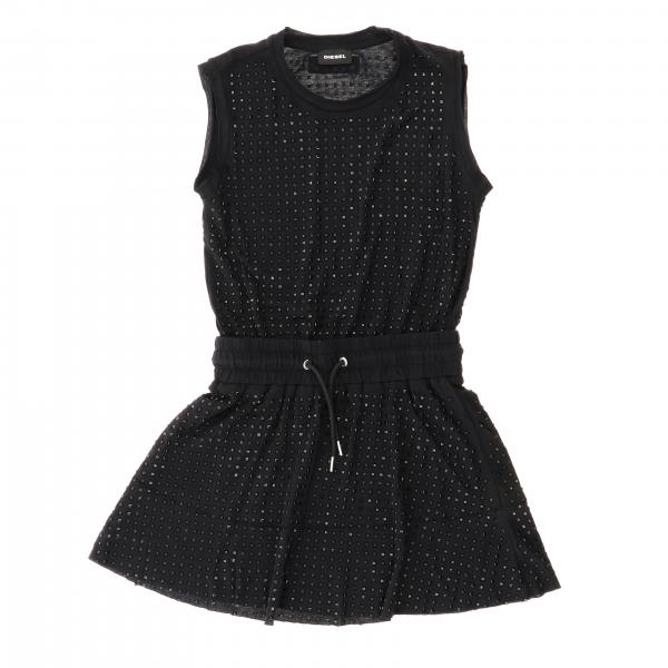 Diesel dress with all-over rhinestones and drawstring