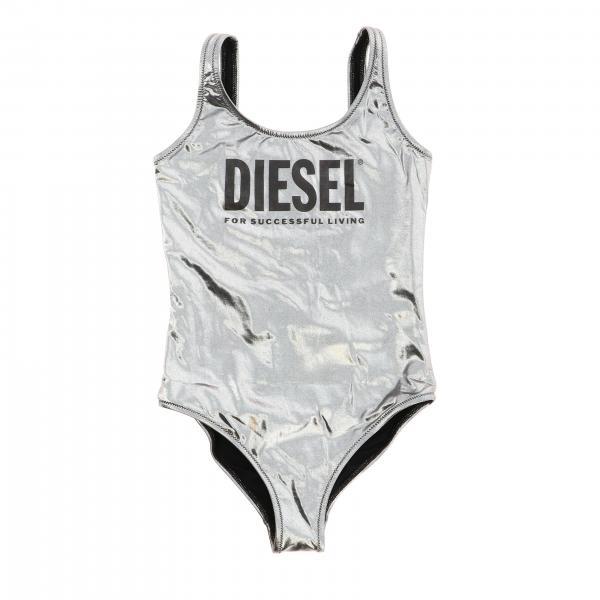 Diesel Badeanzug aus laminiertem Stoff mit Logo-Print
