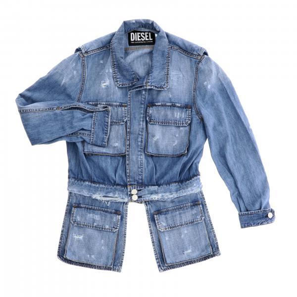 Diesel Jeansjacke aus Used Denim mit Rissen und herausnehmbaren Taschen