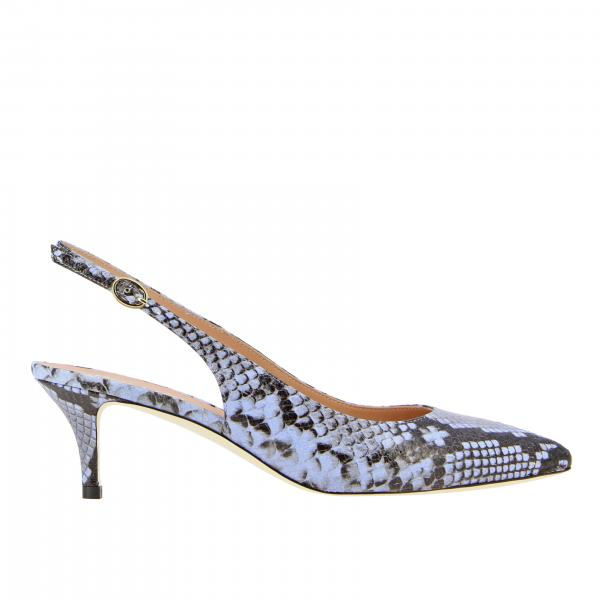Pollini sandal in pointed python print leather