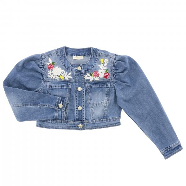 Monnalisa Chic denim jacket in used denim with floral embroidery