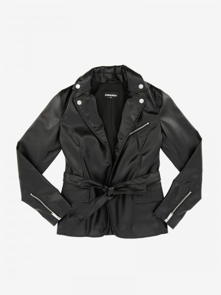 Dsquared2 Junior Jacke aus Leder mit Gürtel