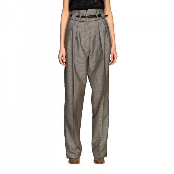 Pantalone Fendi a vita alta con cinta e monogramma FF