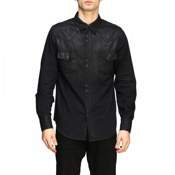 Camisa Saint Laurent en denim recubierto
