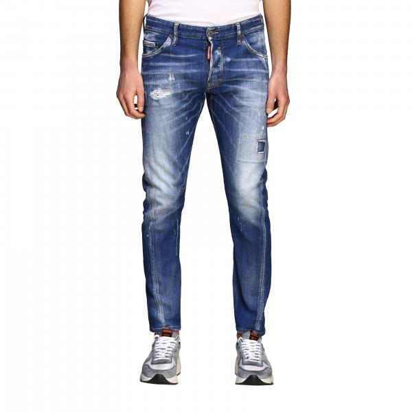 Jeans Dsquared2 in denim delavé effetto consumato con rotture