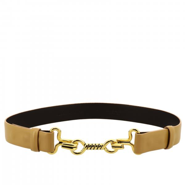 Alberta Ferretti leather belt with metal clamp hook