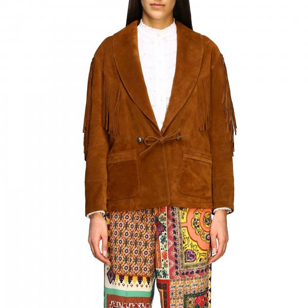 Etro suede jacket with fringes and embroidered bands