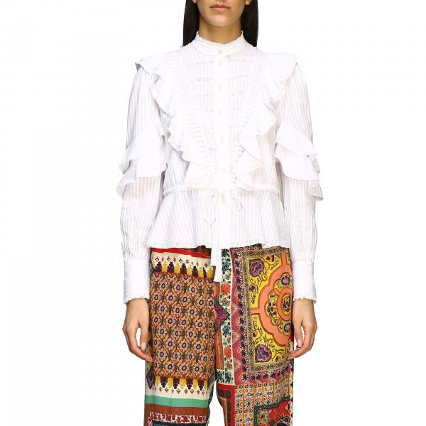 Etro crew neck shirt with ruffles and bow