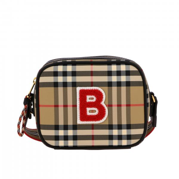 Burberry shoulder bag in check canvas and leather