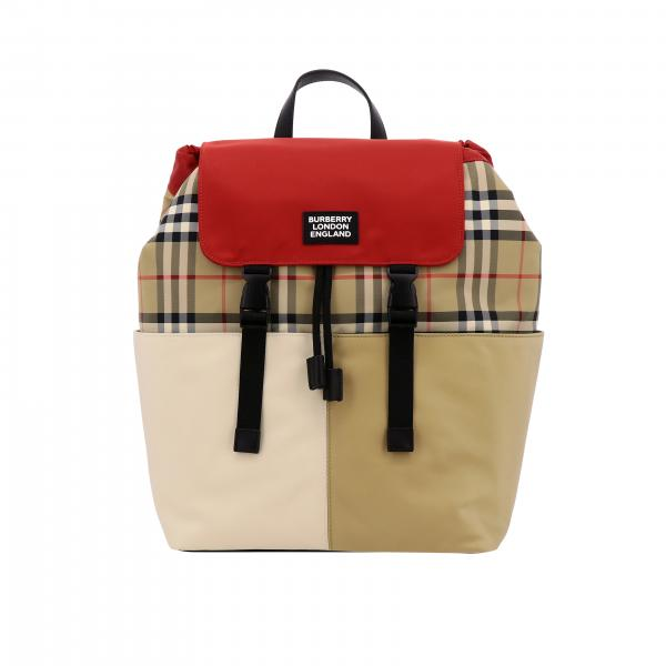 Burberry backpack in check canvas and leather with logo