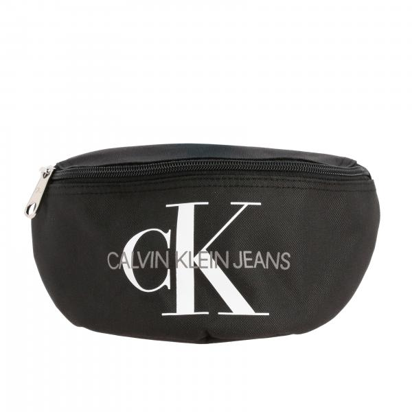 Calvin Klein pouch in canvas with CK print