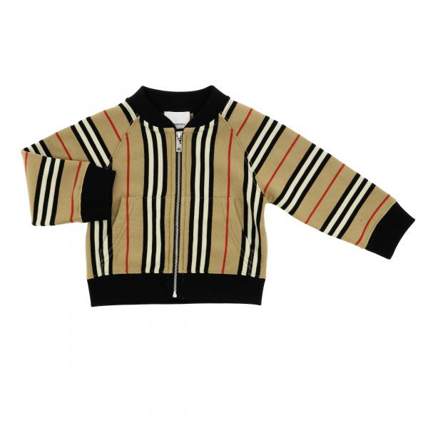 Cardigan Burberry Infant a girocollo con motivo a righe vintage