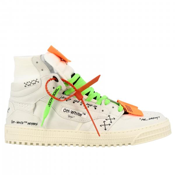 Off White sneakers in leather and ribbed knit with multi prints and applications