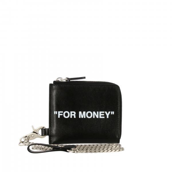 Off White leather key holder with zip and card pockets