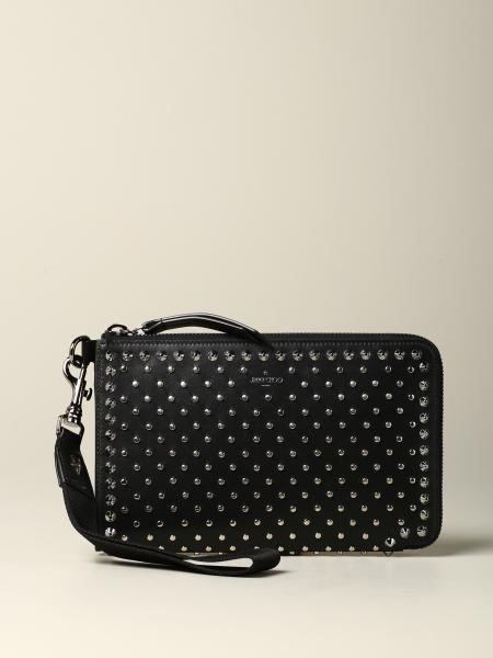 Pochette Jimmy Choo in pelle con borchie all over