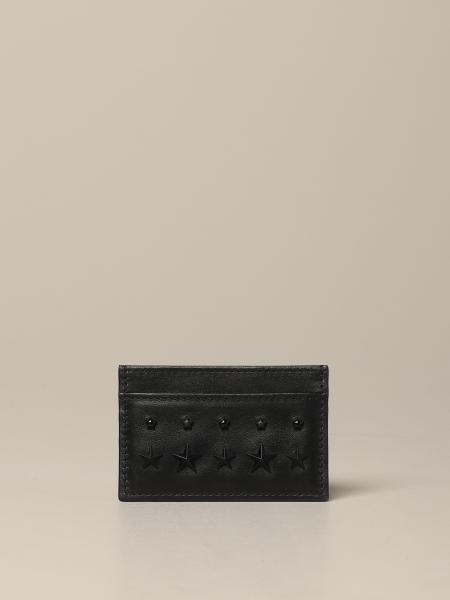 Porte-cartes de crédit Jimmy Choo en cuir avec clous