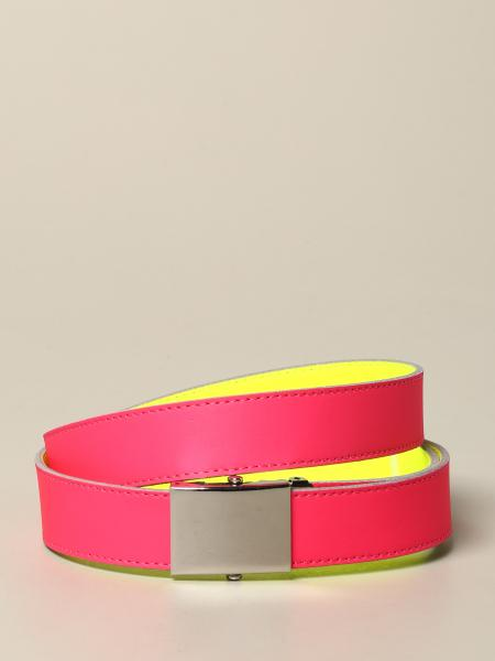 Cintura Comme Des Garcons in pelle fluo reversibile