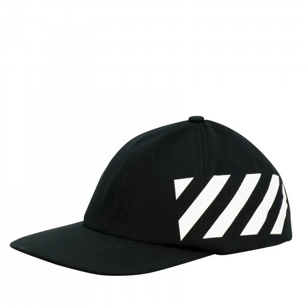 Off White baseball style hat with diagonal bands