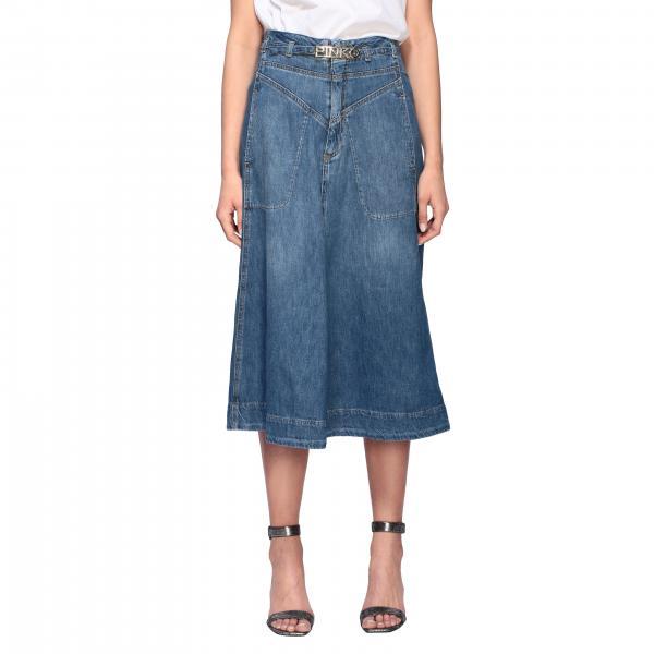 Pinko denim skirt with belt and logo