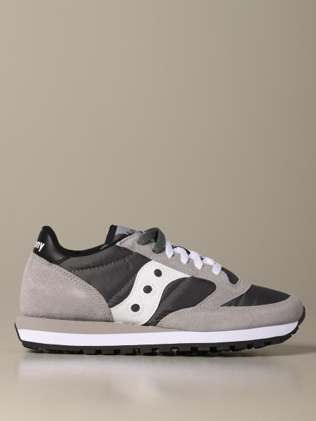 Sneakers Saucony in nylon pelle e camoscio con suola in gomma a righe