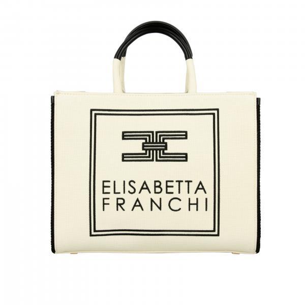 Borsa a mano Elisabetta Franchi in tela con logo ricamato