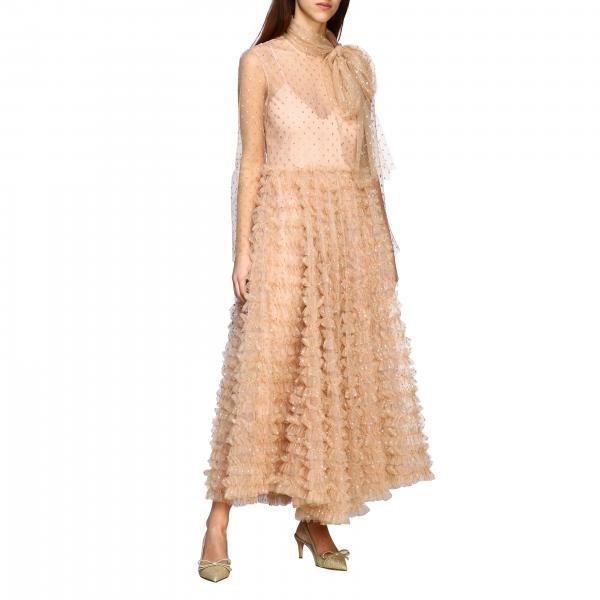 Long Red Valentino dress in tulle with glitter polka dots