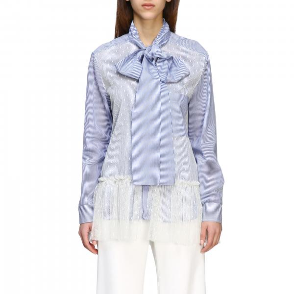 Red Valentino shirt in point d'esprit tulle and striped cotton